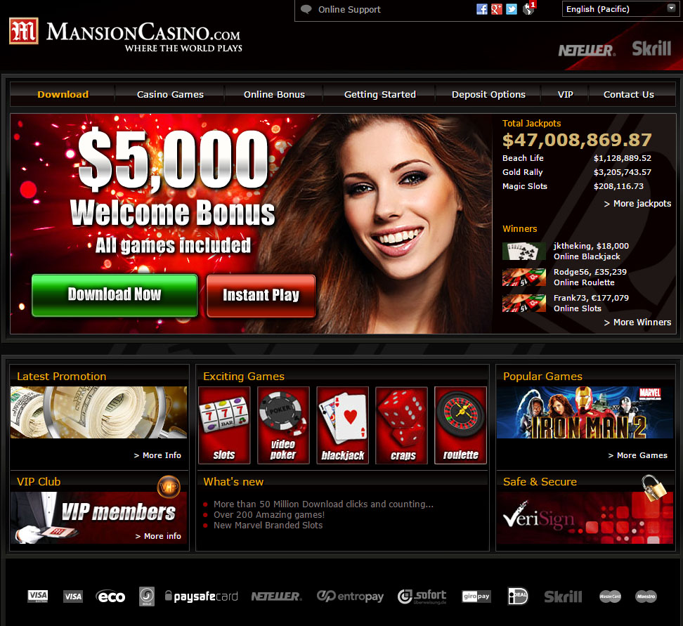 mansion online casino poker american